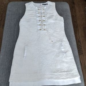 Barbara Bui White Dress with Gold Accents SZ 40